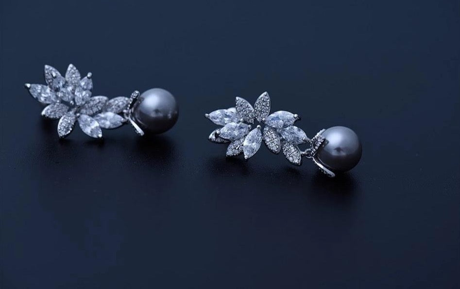 Floral Grey Pearl Rodium Plated Earrings