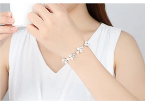 Floral Freshwater Pearl Rodium Plated Bracelet