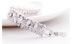 Marquise Cut Rodium Plated Bracelet