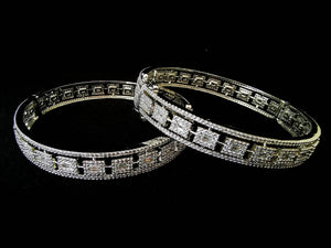 Silver Embellished Cubic Zirconia Bangles