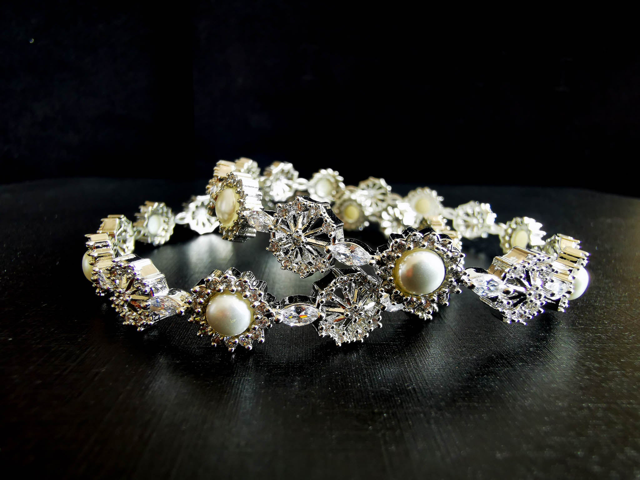 Pearl Silver Cubic Zirconia Bangles