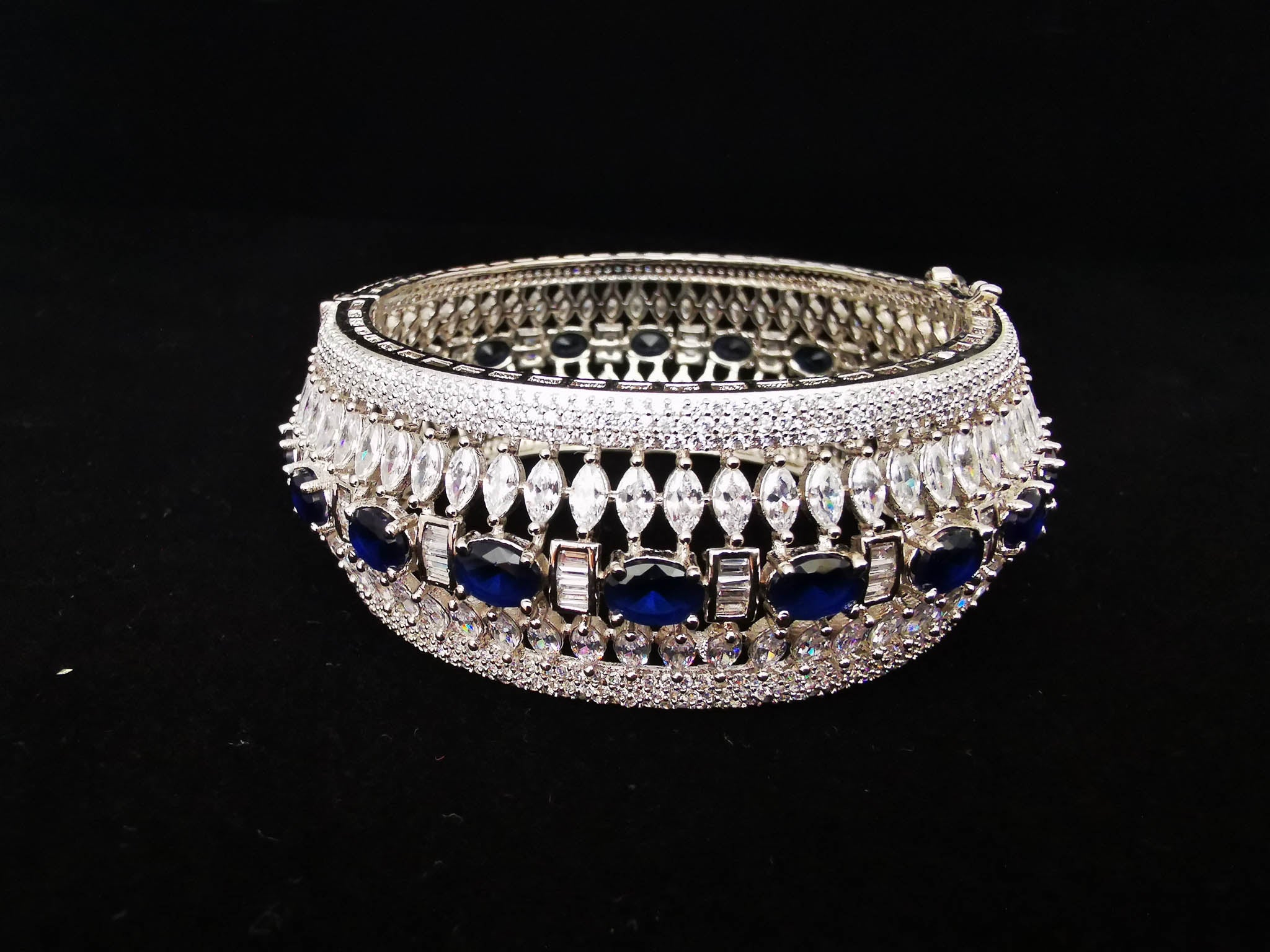 Sapphire and Silver Cubic Zirconia Bangle