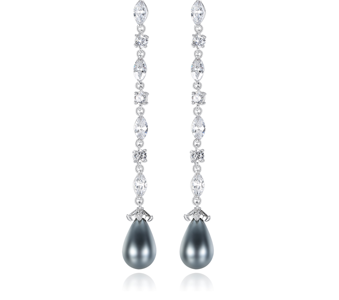 Grey Freshwater Pearl Drop Rodium Plated Earrings