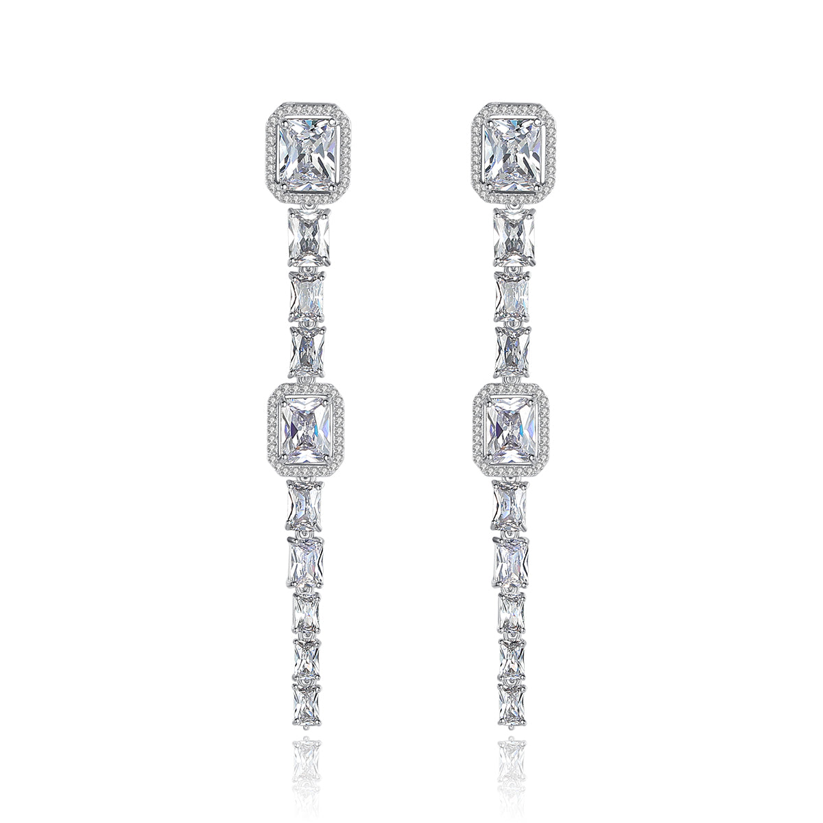 Baguette Cut Cubic Zirconia Drop Earrings