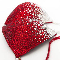 Crimson red bikini with multi sized crystal and ruby rhinestone design rhinestones.