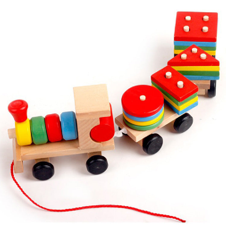 Wooden Pull Along Train with Blocks | kidzful