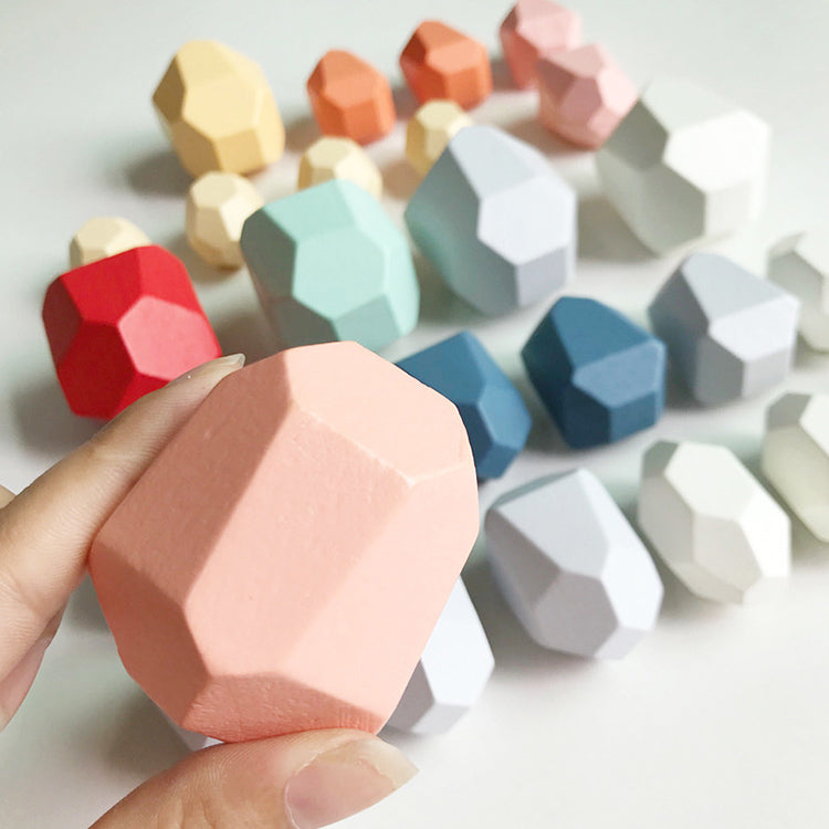 Balancing Rainbow Wooden Blocks 16 PCs | kidzful