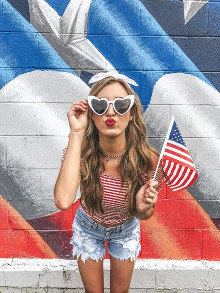 Woman-4th-July-Outfit-Shorts-Top-Flag
