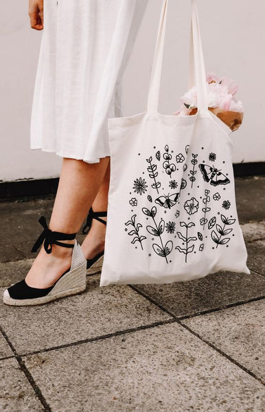 black and white floral tote bag