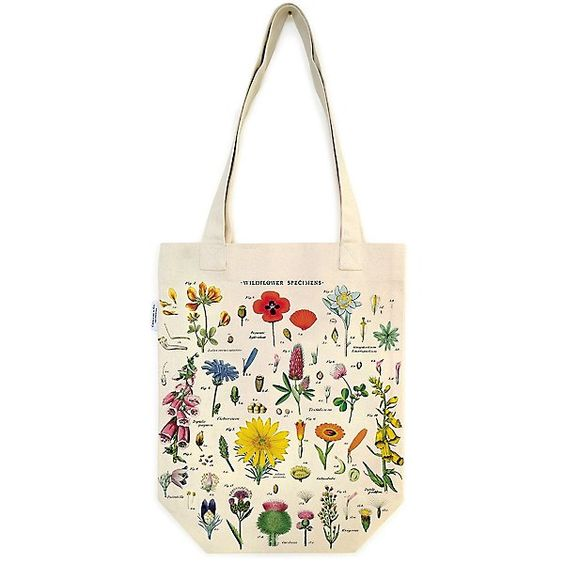 white tote bag with flowers