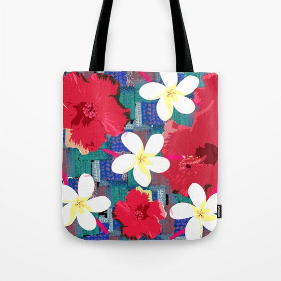 tote bag with tropical flowers