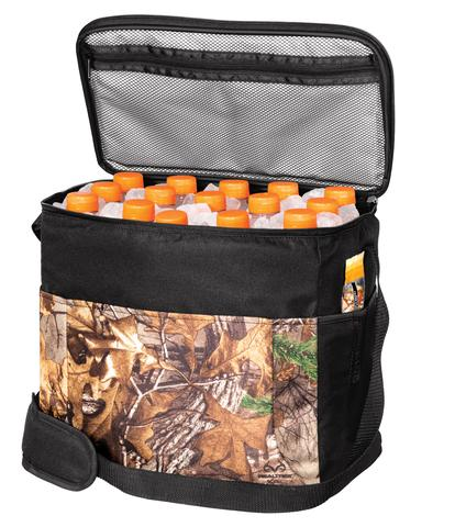 camouflage cooler with interior zipped pocket