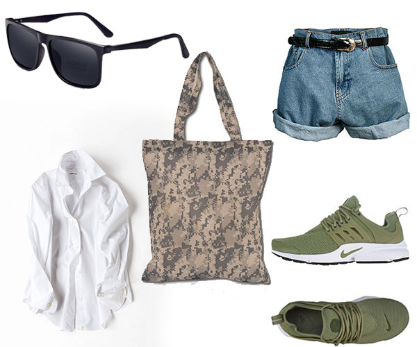 outfit with denim shorts and camo tote bag