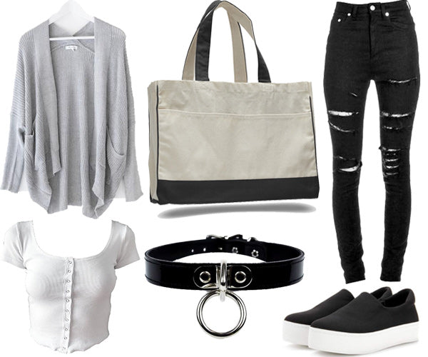 outfit with large tote bag and high waisted pants