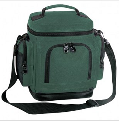 green polyester insulated lunch bag with side pockets