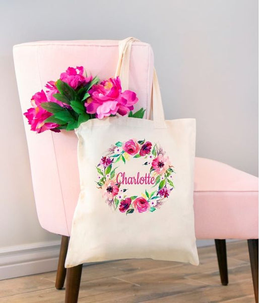 Floral-Personalized-Tote-Bag