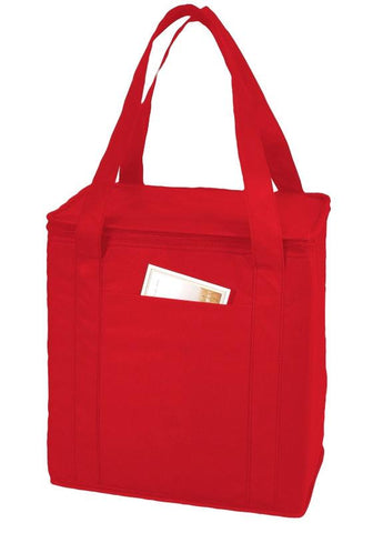 red cooler tote bag lunch bag