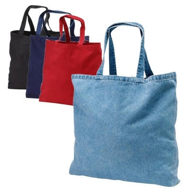 assortment of denim tote bags