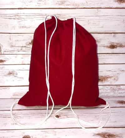 red drawstring backpack