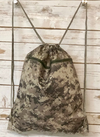 drawstring backpack with camo print