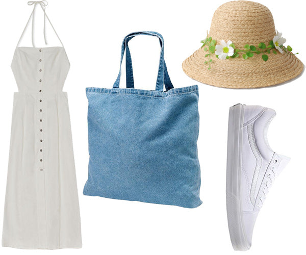 outfit with denim tote bag and white dress