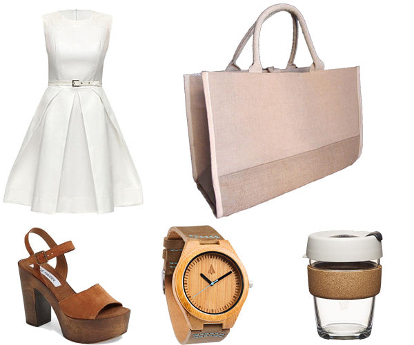 outfit with white dress and jute tote bag