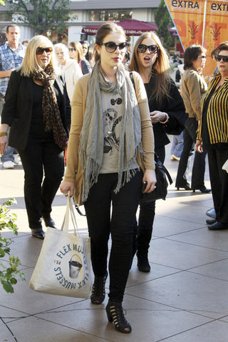 Michelle Trachtenberg wearing a personalized tote bag
