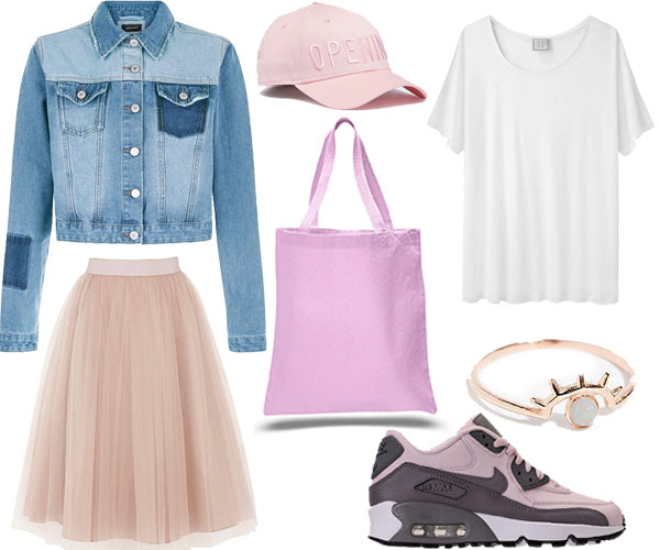 pink tutu and tote bag outfit