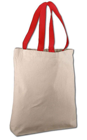natural totebag with red handle
