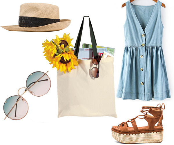 outfit with canvas tote bag and denim dress