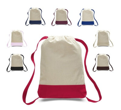 assortment of drawstring backpacks in two colors