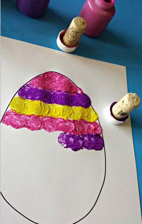 Wine cork Easter egg stamp