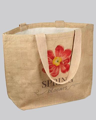 jute tote bag with exotic flower