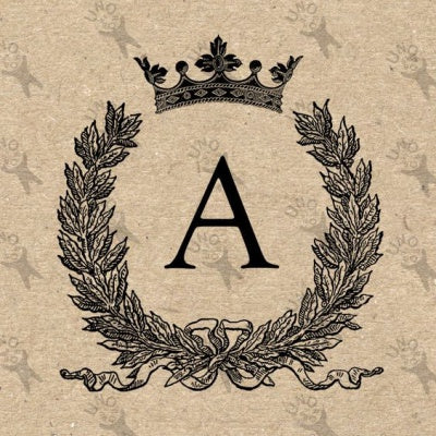 antique style monogram with royal details