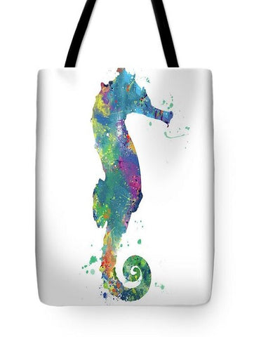 white tote bag with seahorse