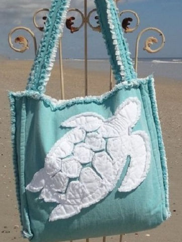 canvas tote bag with turtle print