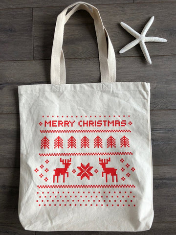 10 Reusable Burlap Gift Tote Bag Merry /& Bright Black Design