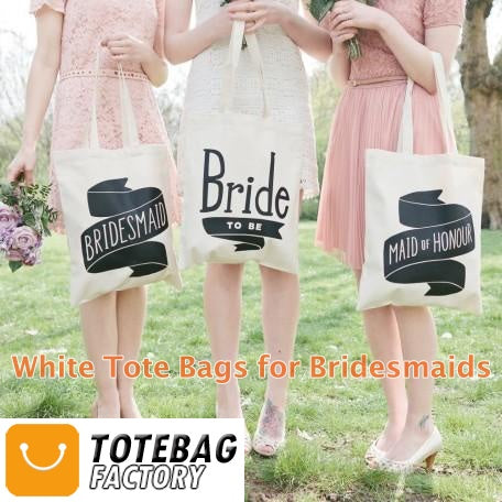 white tote bags for bridesmaids