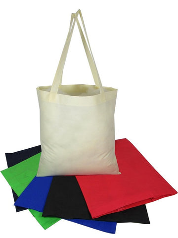 assortment of small canvas tote bags