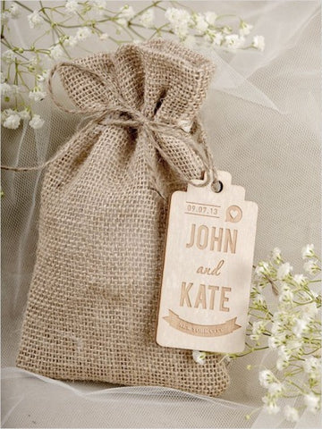 small burlap bag wedding favor