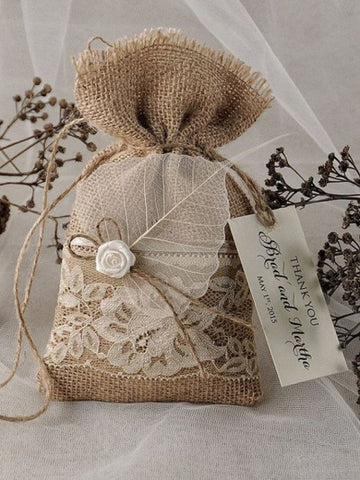 burlap bag with soap