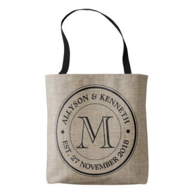burlap tote bag with retro monogram