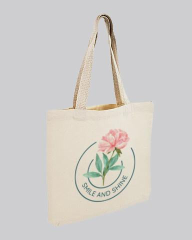 printed tote bag with a pink flower