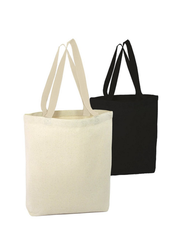 black and white cotton tote bags