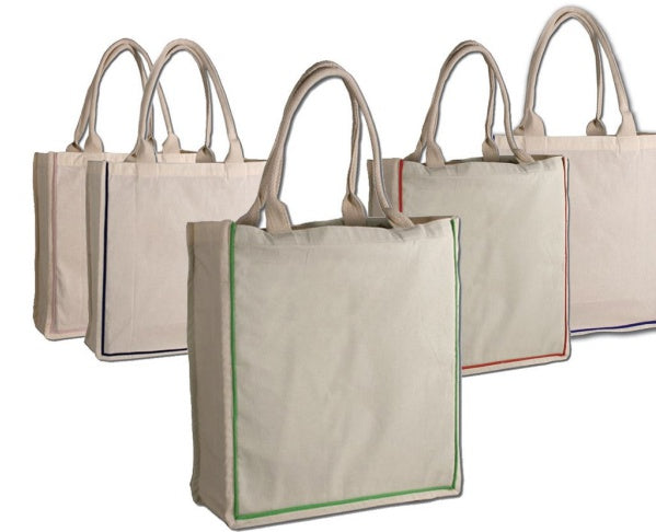 cotton canvas bags with colored handles