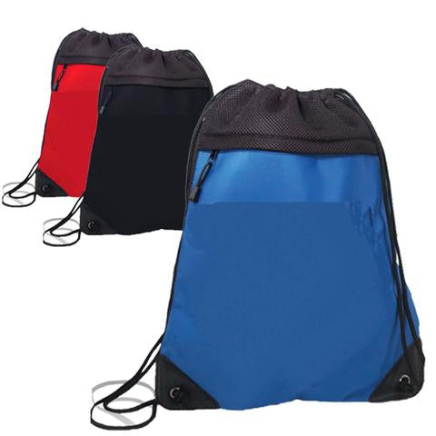 assortment of microfiber drawstring backpacks with mesh in front