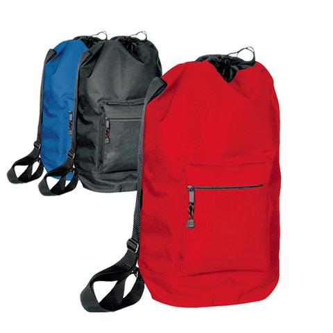 three differently colored polyester drawstring backpacks