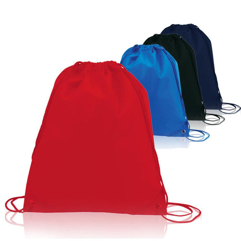 assortment of colorful non woven polyester drawstring backpacks