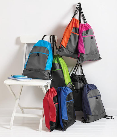 assortment of colorful cinch backpacks