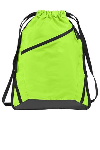 neon green drawstring backpack with adjustable straps